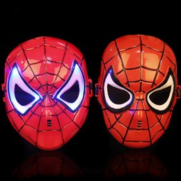 Wholesale Mask Spider Man Red - Spider Man Cartoon Red Children Mask Full Face PVC Cosplay Animation Kids Beaming Mask Halloween Party Costume Accessories 5pcs lot SD323