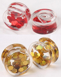 Wholesale Gold Ear Plugs Tunnels - New Style Red Gold Round Slices Liquid Transparent Acrylic Ear Plug Flesh Tunnel Body Jewelry 8mm 10mm 12mm 14mm 16mm 18mm
