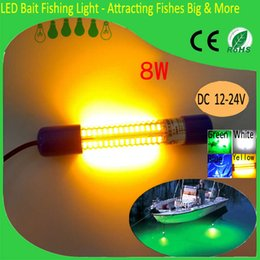 Wholesale 12v Lighting China - 12V Yellow LED Fishing Lights Night Fishing Dock Lights 8W Green Blue White Attracting Fishes Lures Fake Bait China Fishing Lamp Manufactory