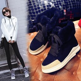 Wholesale Ladies Warm Boots - free shipping women black grey warm snow boots lady muffin bottom casual ankle boots