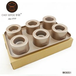 Wholesale Chiffon Cake Mold - Wholesale- High-end WK9051 non-stick Bowl-maker Meike 6-cup multifunction convex cylindrical chiffon pan cake mold free shipping