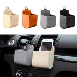 Wholesale Trash Bags Holder - Universal Car Mobile Phone Bag DEDC PU Leather Car Auto Outlet Air Vent Trash Case Mobile Phone Holder Bag Pouch