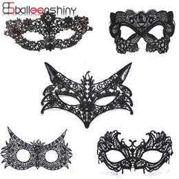 Wholesale Chocolate Fancy Dress Costume - Halloween Masquerade Party Black Sexy Lady Lace Mask Cutout Eye Mask Blinder For Fancy Dress Costume Party Fancy Cosplay Hot