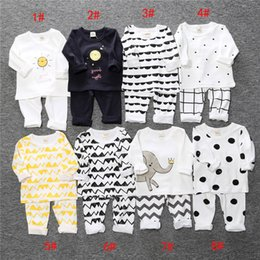 Wholesale Kids Cartoon Shirts - 8 Style INS Baby Girls boys ins stripe Suits Pajamas Children Christmas Cotton cartoon long Sleeve T-shirt+Pants 2pcs sets kids clothes