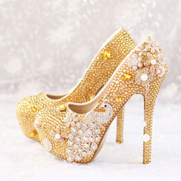 Wholesale Diamond Evening Shoes - Glitter Gold Rhinestone Wedding Shoes 5 Inches High Heel Party Pumps Bling Diamond Evening Prom Heels Celebrity Function Shoes
