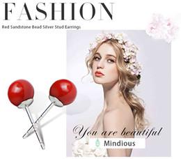 Wholesale Carnelian Sterling Silver - Mindious Design 925 Sterling Silver Carnelian Red Sandstone Gemstones Studs Earrings Healing Energy JewelryMS025 5pairs lot