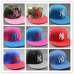 Wholesale Wholesale Snap Back Cap Hiphop - DHL FREE NY Letters Adjustable Snapback Hat For Men Women NY Hiphop Street Dance Snap Back Caps Sports Style Many Colours Mix