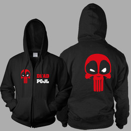 Wholesale boys zip hoodies - New Deadpool Print Men's Hoodie Sweatshirt Zip-Up Hooded Casual Cardigan Sweatshirt Men Boy Black Fleece Jacket Outerwear WWH0405
