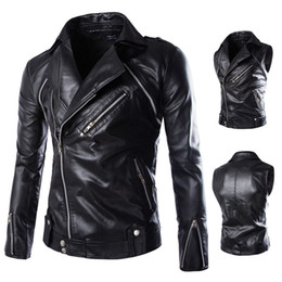 Wholesale Two Button Leather Jacket - Jackets for men Spring and autumn outfit men's inclined zipper leather detachable sleeve off two pieces of leather men's PU leather coat