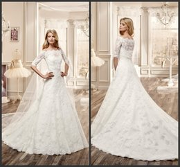 Wholesale Gown Dresses Shrug - 2017 Elegant Lace Wedding Dresses A-line Court Train Bateau Neck Half Sleeves Shrug Bridal Wedding Gowns Custom Made