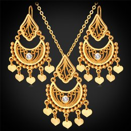 Wholesale Vintage Gold Tassel Necklace - U7 Gold Plated Indian Jewelry Set for Women Platinum 18K Real Gold Plated Rhinestone Vintage Heart Tassel Necklace Earrings Set