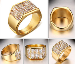 Wholesale Crystal Drill - Brand New High Quality Gold Plated Stainless steel Women Men Gift 11mm Wide Band Ring With Shinning Crystals Drill 7#-12#