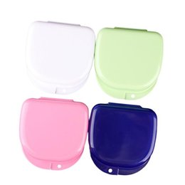 Wholesale Whitening Pens - 2014 New 4pcs Mixed Color Dental Orthodontic Retainer Mouthguard Dentures Storage Case Box # 48045