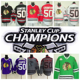 blackhawks purple jersey Canada - Factory Outlet, 2015 Stanley Cup Patch Championship Authentic Chicago Blackhawks #50 Corey Crawford Jersey Red White Black Green Hockey Jers