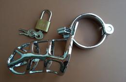 Cadenas anneau de coq en Ligne-Dispositifs de cages de chasteté d'acier inoxydable avec 3 anneaux cadenas pénis Cock Cage pénis anneau sex toy pour hommes