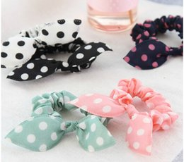 Wholesale Rabbit Hair Tie - Mix Style Clips For Hair band Polka dot leopard trip hair rope Rabbit Ears scrunchy Hair tie Baby hair accessories