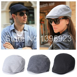 Wholesale Mens Newsboy Caps - Free Shipping Womens Mens Newsboy Cap Flat Cabbie Linen Beret Duckbill Golf Driving Travel Caps Hat Boina Fashion