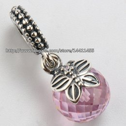 Wholesale european butterfly dangles - Pink Morning Butterfly Pendant 925 Sterling Silver Dangle Charm Bead Fits European Pandora Jewelry Bracelets & Necklaces