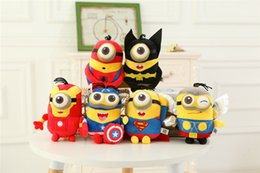 Wholesale Despicable Plush Soft Toy - Despicable me Minion Plush Toy The Avengers Spider man Batman Captain American Super Man Minion Stuffed Doll Soft Baby Toy EMS Free shipping