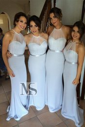 Wholesale Maternity Dresses For Weddings - 2015 Sexy Halter Sleeveless Under $100 Mermaid Bridesmaid Dress Sweep Train Fashion Silver Sheer Bridesmaid Dresses For Wedding Party