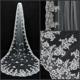 Wholesale 1t Lace Wedding Cathedral Veil - New Hot sale 1T White Ivory Lace edge Cathedral Long Bridal Wedding Veils