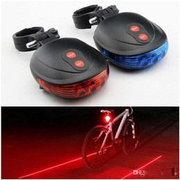 Wholesale Led Lights For Bicycles - 2015 NEW Bicycle Bike Laser Light Cycling Safety Led Lamp Bike Lamp Bicycle Bike Rear Tail Light (2 Laser + 5 LED) DHL for 20PCS+