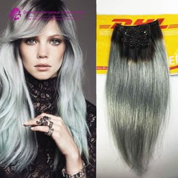 Wholesale Synthetic Remy - 2015 Fashion black to grey mermaid colorful ombre Brazilian clip in hair extensions Two ombre sliver grey clip in hair 7pcs Set