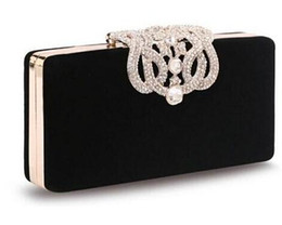 Wholesale Evening Fold - new Women's Upscale Party Handbag Czech Diamond Crowne Velvet Hard Case Clutch Evening Bag Chain Crossbody Messenger Bag top