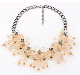 Wholesale Clear Dress Beads - Fashion Jewelry Pendant Necklaces Elegant Design Acrylic Crystal Clear Bead Statement Necklace Bloggers Gem flower Dress Accessories FreeDHL