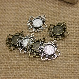 Wholesale Filigree Pendants - 30pcs Antique Bronze Metal Cameo Flowers Filigree 26*29mm (Fit 12mm) Round Cabochon Pendant Setting Jewelry Blank Findings T0220