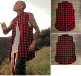 Wholesale Plaid Shirt Trend - Wholesale-2015 Summer style Fashion t-shirt men Scottish plaid Side zipper t shirt hip hop trend chris brown same paragraph Free shipping