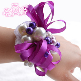 Wholesale Corsages For Bridesmaids - Romantic Purple White Pearl Bride Bouquets Artificial Matching Wrist Corsage For Bride Cheap 5PCS Bridesmaid Bride Wrist Corsage 2015 New
