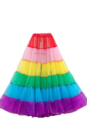 Wholesale Tulle Dresses For Adults - 2015 Real Picture Vintage Rainbow Colorful Tulle Tutu Skirts For Adults Custom Made A-Line Party Prom Dresses Women Clothing