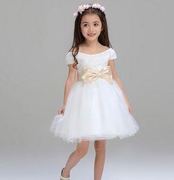 Wholesale Short Sleeved Ball Wedding Gowns - In 2016 the most lovely little girl flower children's wear chic a word shoulder short-sleeved elegant sleeve pure color flower girl dress
