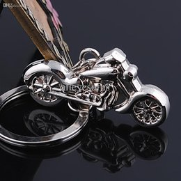 Wholesale Alloy 3d Style Rings - Wholesale-Creative 3D High simulation motorcycle Keychain zinc alloy metal Key Chain stainless steel key ring free shipping car styling