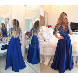 Wholesale Classic Boutique Dresses - Long Prom Dress Boutique Lace Appliques Half Sleeves See Through Back Royal Blue Prom Dress Elegant Prom Dress