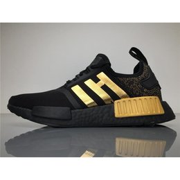 Wholesale Wholesale Table Top - 2017Versace X NMD Running Shoes Originals NMDs BA7250 Outdoor Sneakers Black Gold Top Real Boost Sneakers Womens