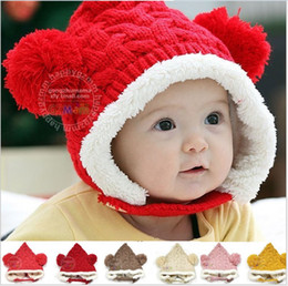 Wholesale Crochet Earmuffs Wholesale - Toddler Baby Boys Girls Knitted Caps Children Thicken Warm Hats Children's Caps With Earmuffs Kids Autumn Winter Wool Cap Child Hat