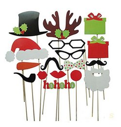 Wholesale Christmas Stick Photo Props - Funny DIY Photo Booth Props Mustache Glasses Snowflake Gift On A Stick Wedding Birthday Christmas Xmas Party Family
