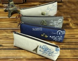 Wholesale Lovely Eiffel - Lovely Sweet Students linen pencil case Women Grils' cosmetic purse Bag Eiffel Tower camera