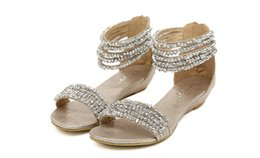 Wholesale Gold Flat Wedge Sandals - Summer 2015 The New European flats beaded rhinestone wedge sandals women's shoes of Rome