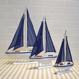 wooden model boats 2018 - Blue Wooden Saling Ship Model Mediterranean Style Boat Ornaments Home Nautical Decor Crafts Gifts