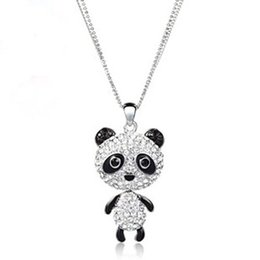 Wholesale Rhinestone Animal Panda Necklace - cute panda long necklace crystals Neoglory Jewelry outlets Rihood Jewelry NC-146 clearance sale crystals