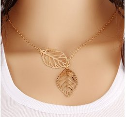 Wholesale Sapphire Leaf Necklace - Simple European New Fashion Vintage Punk Gold Hollow Two Leaf Leaves Pendant Necklace Clavicle Chain Charm Jewelry Women Free Shipping
