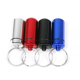 Wholesale Container Boxes - 6 color Waterproof Aluminum Medicine Pill Box Case Bottle Cache Holder Keychain Container Pill Bottle cases 240254