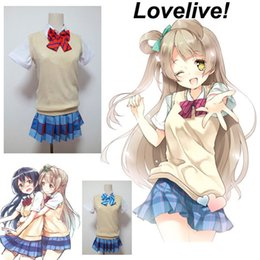 Wholesale Girls School Uniform Skirts - Love Live! Yazawa Niko LoveLive! Summer Style Cosplay Costume Sweater Vest Girl School Uniform Outfit Women Sets(Shirt+Skirt+Bow Tie)