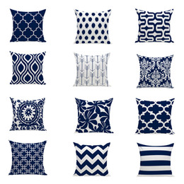 Wholesale Navy Throws - 12 Kinds Geometric navy Blue Pillow Case 45*45cm Throw Pillow Covers Cotton Linen Sofa Decorative Square Pillow Cushion Cases 18 X 18 Inch