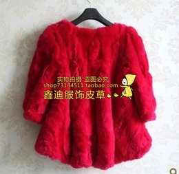 Wholesale Double Breasted Rabbit Coat - Wholesale-Fur coat rabbit fur 2015 ladies puff sleeve dovetail paragraph fur coat