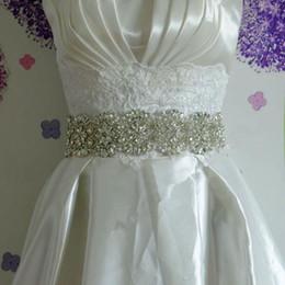 Wholesale Satin Beaded Diamond Wedding Dresses - 2015 New Vintage Wedding Bride Dress Waist Belt Manual Luxury Diamond Accessories Exotic Lace Bridal Sash Belts