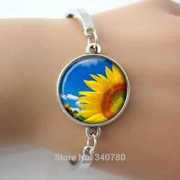 Wholesale Silver Jewlery Sets - Sunflower charm bracelets pulseras sunshine trendy fresh bracelets&bangles plated silver jewlery for women free shipping